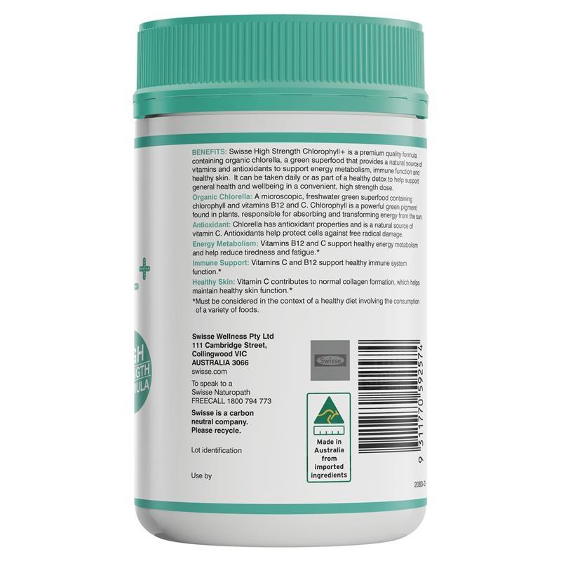 Viên uống diệp lục hữu cơ Swisse Chlorophyll+ 1000mg 200 Tablets