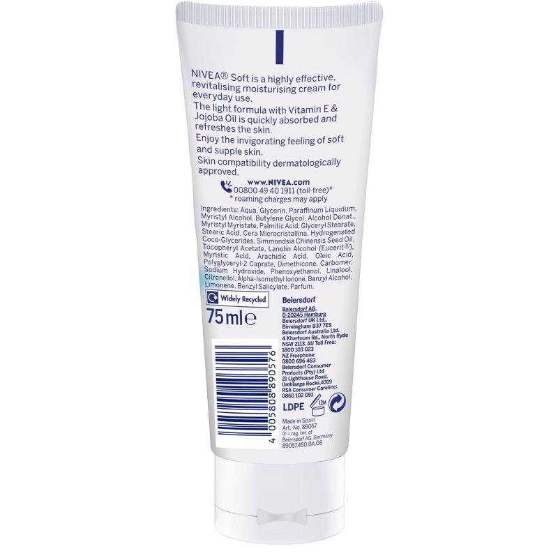 Nivea Soft Moisturiser Cream Lotion With Jojoba Oil & Vitamin E 75ml