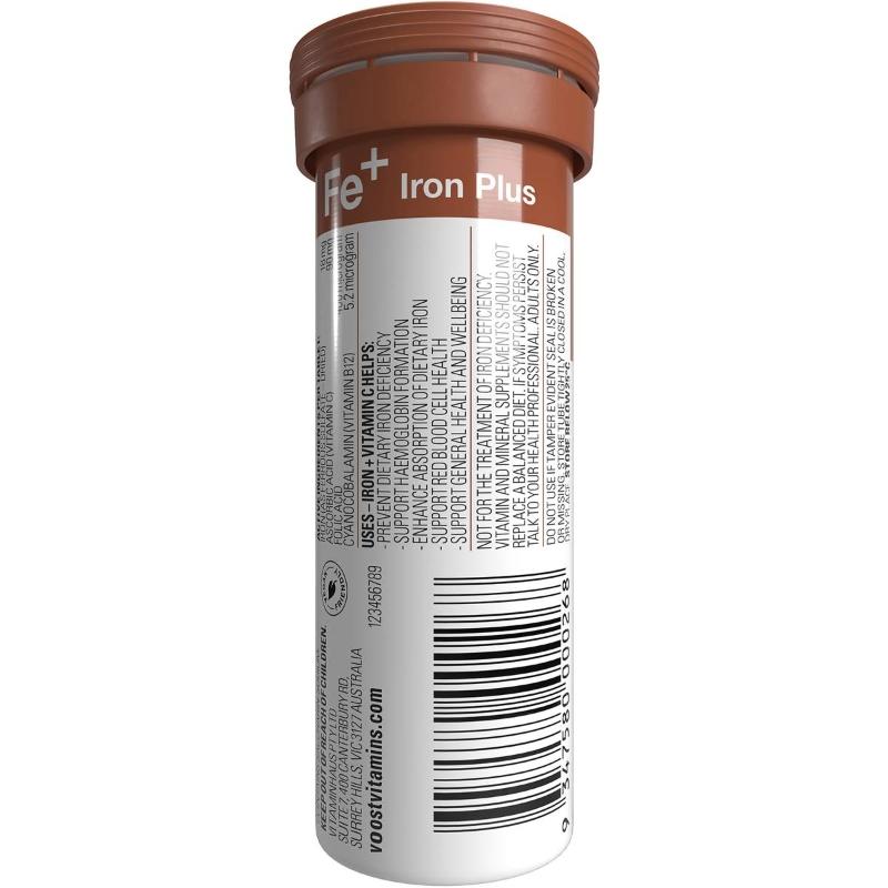 Viên sủi bổ sung sắt Voost Effervescent Iron Plus Tablets 10 pack