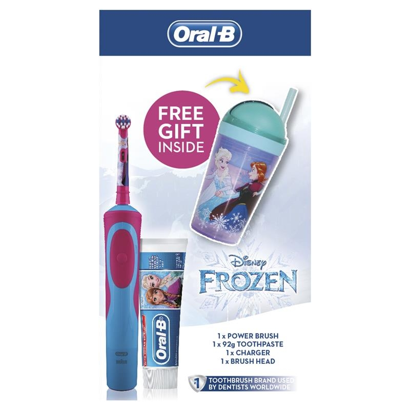 Oral B Kids Frozen Gift Pack Vitality Power Toothbrush + Paste + GWP