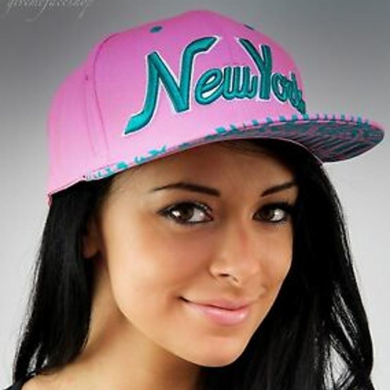 NY snapback caps, hip hop baseball flat peak fitted hats, unisex bling pink