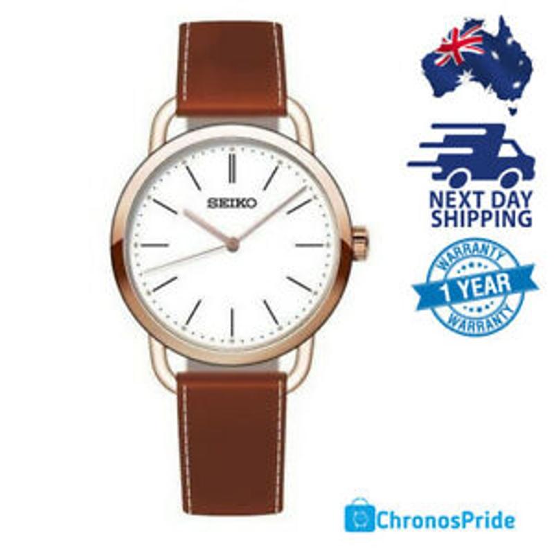 SEIKO Classic SUR238 White Dial Brown Leather Band Quartz Women's Watch