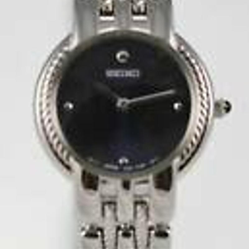 Seiko Womens Watch Stainless Steel Silver Water Resistant Battery Blue Quartz