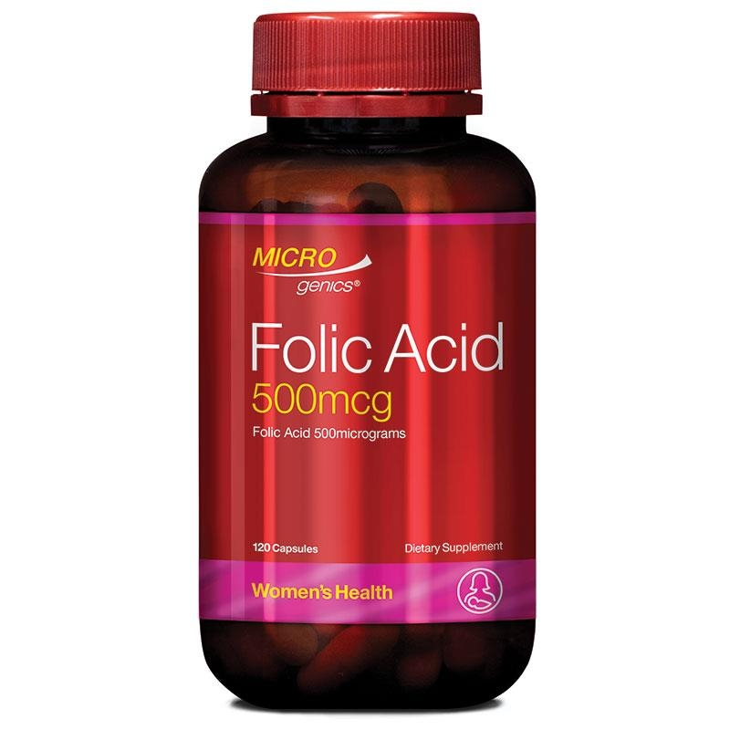 Microgenics Folic Acid 500mcg 120 Capsules