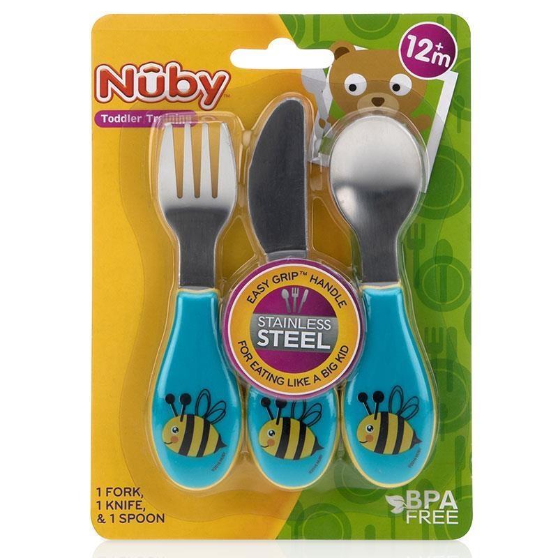 Bộ dao thìa dĩa tập ăn - Nuby Stainless Steel Cutlery Set