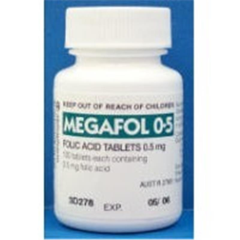 Megafol 0.5mg Folic Acid Tablets 100