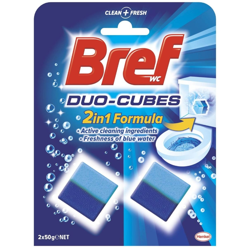 Viên tẩy bồn cầu Bref Duo Cubes 2 In 1 Formula 2x50g
