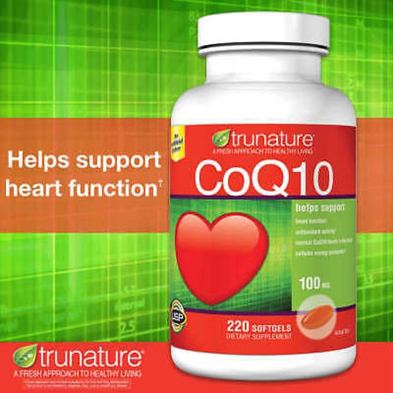 Trunature Coenzyme CoQ10, 100mg 220 Softgels Coenzyme Q-10 Heart Health Antioxid
