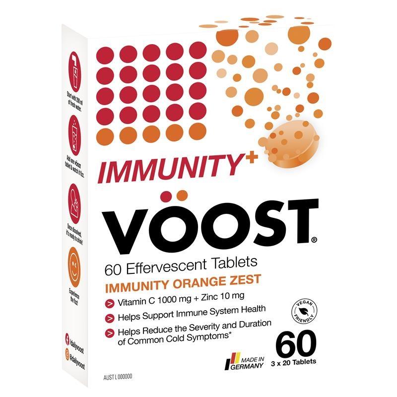 Viên sủi tăng cường miễn dịch - Voost Immunity Orange Zest Effervescent Tablets 60 Pack Exclusive Size