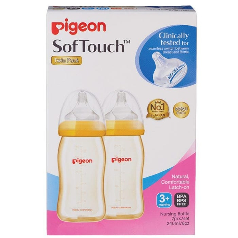 Pigeon Softouch Wide Neck Bottle PPSU 240ml (Twin Pack)
