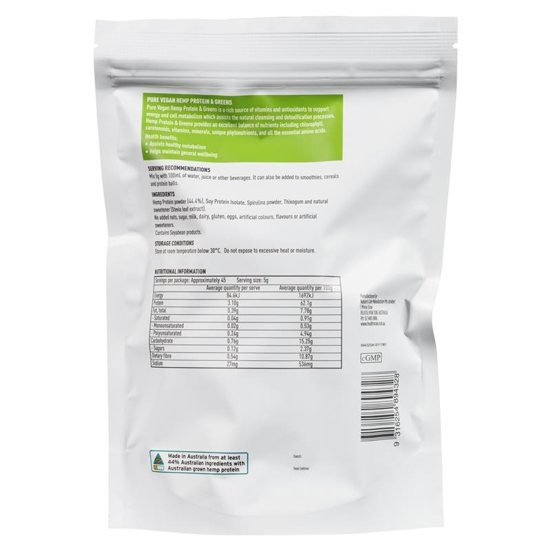 Healthy Care Pure Vegan Hemp Protein & Greens Powder 225g