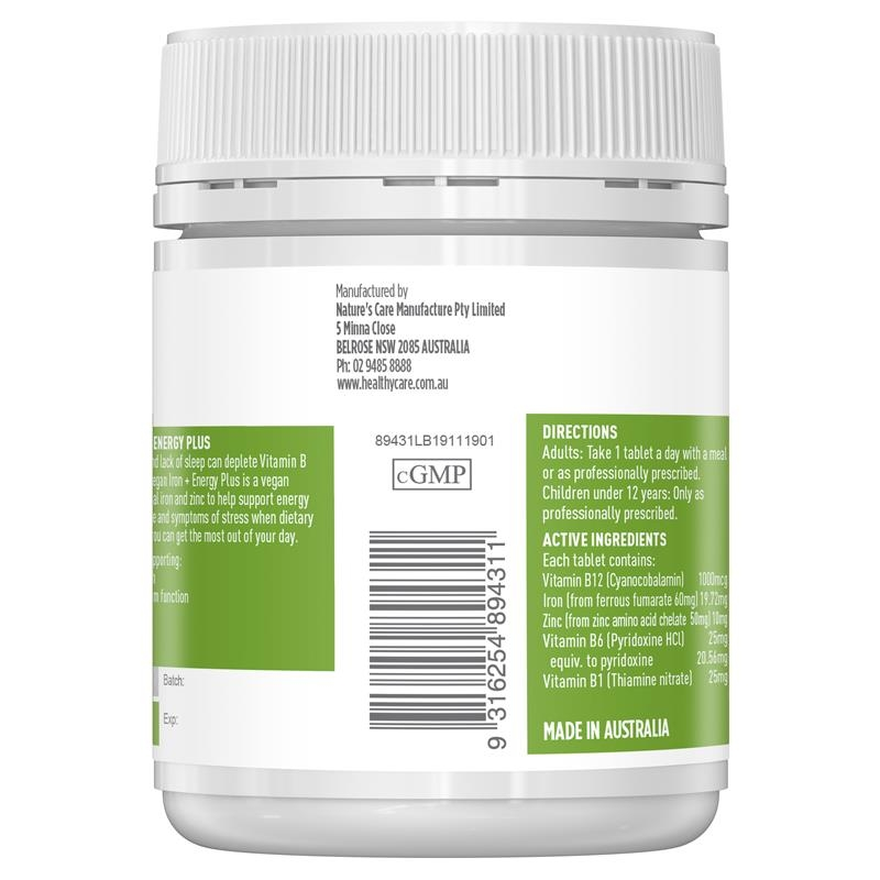 Healthy Care Pure Vegan Iron + Energy Plus 60 Tablets