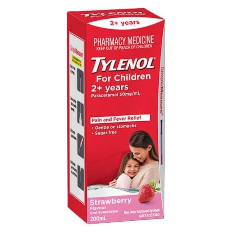 Siro giảm đau, hạ sốt cho bé từ 2 tuổi Tylenol for Children (2+ Years) 200ml