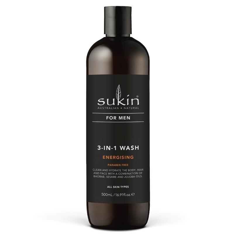 Sữa tắm gội & rửa mặt 3 trong 1 Sukin For Men 3-In-1 Wash Energising 500ml
