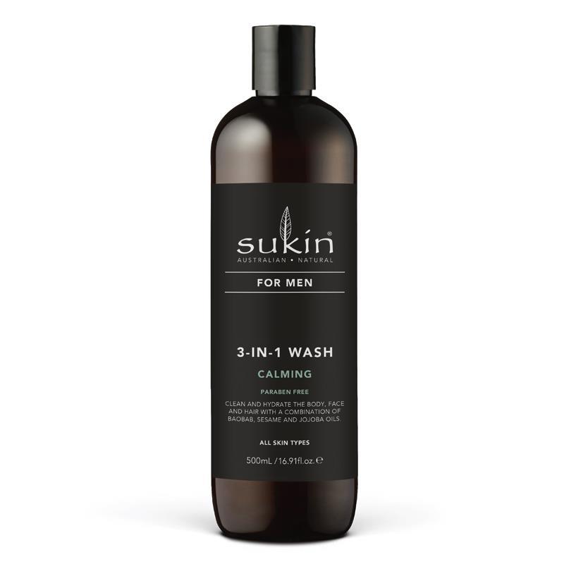 Sữa tắm gội & rửa mặt 3 trong 1 Sukin For Men 3-In-1 Wash Calming 500ml