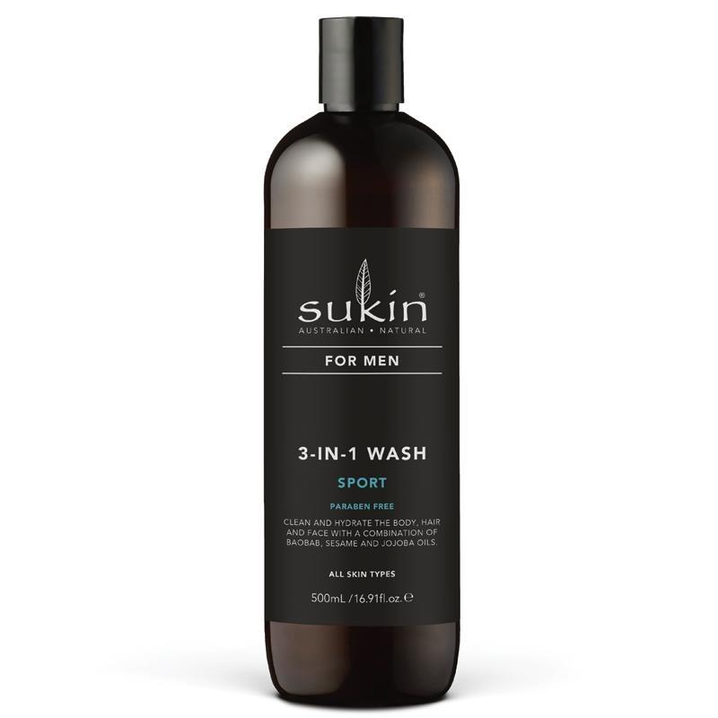 Sữa tắm gội & rửa mặt 3 trong 1 Sukin For Men 3-In-1 Wash Sport 500ml