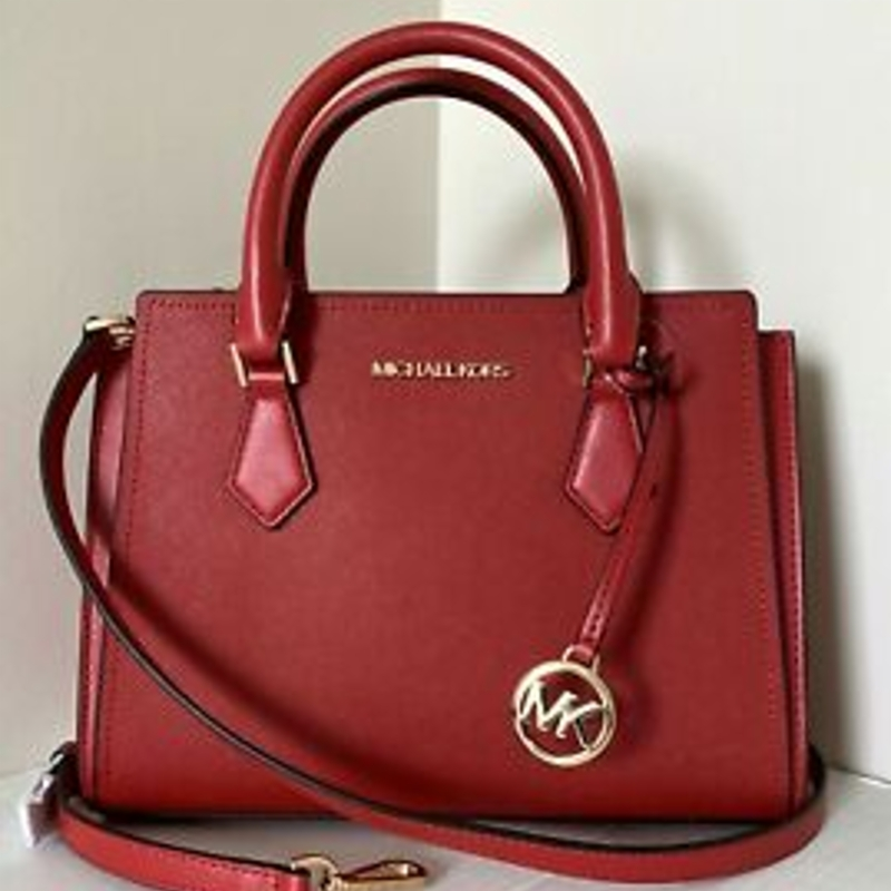 Túi đeo chéo New Michael Kors Hope medium Messenger handbag Leather Flame