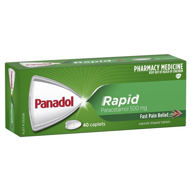 Thuốc giảm đau nhanh chóng - Panadol Rapid Paracetamol Pain Relief Caplets 500mg 40