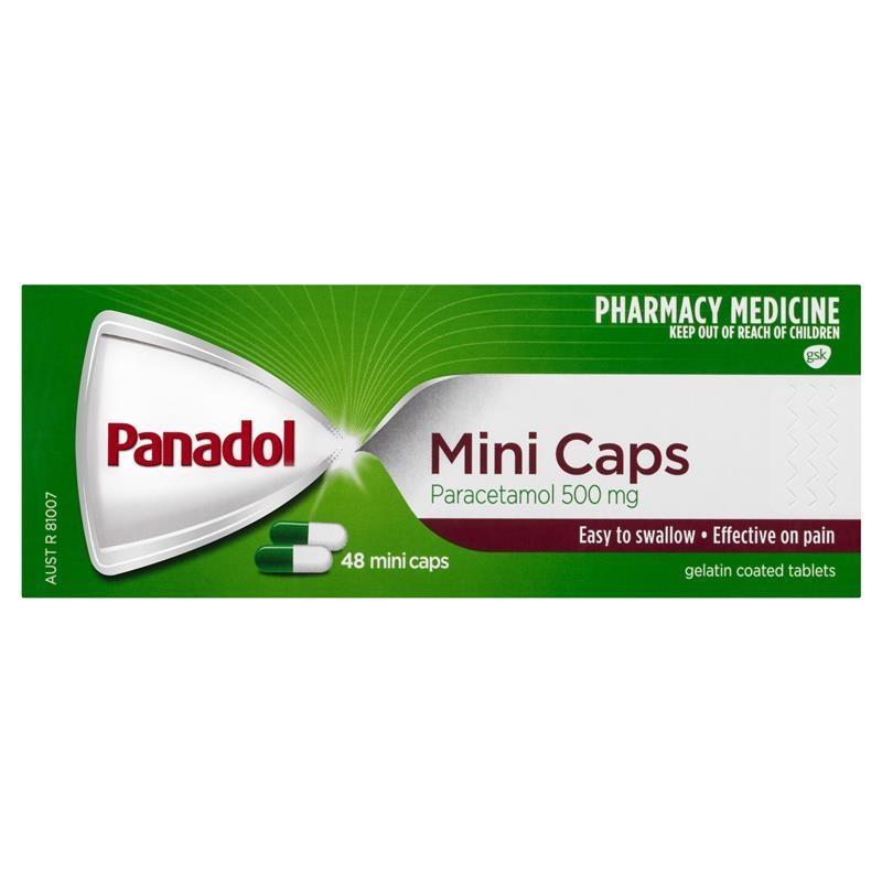 Thuốc giảm đau - Panadol Mini Caps for Pain Relief Paracetamol 500mg 48