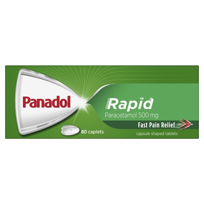 Viên uống giảm đau nhanh chóng Panadol Rapid Paracetamol Pain Relief Caplets 500mg 80