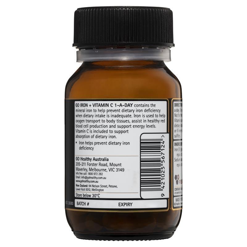 Viên uống bổ sung sắt và vitamin C - GO Healthy Iron + Vit C 500mg 30 Vege Capsules Exclusive Size