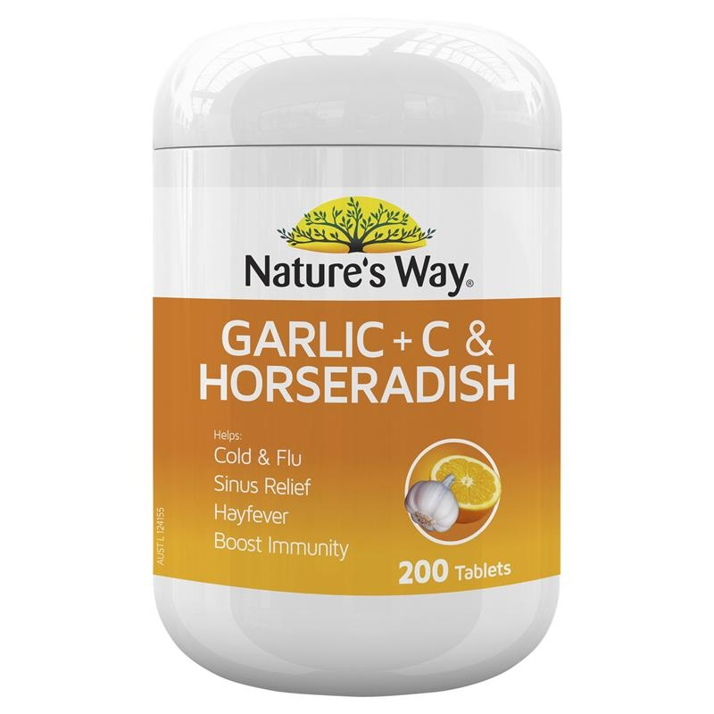 Viêm xoang Nature's Way Garlic + C & Horseradish 200 Tablets