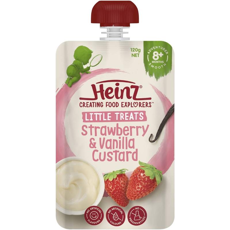 Heinz Strawberry & Vanilla Custard Baby Food Pouch 8+ Months 120G