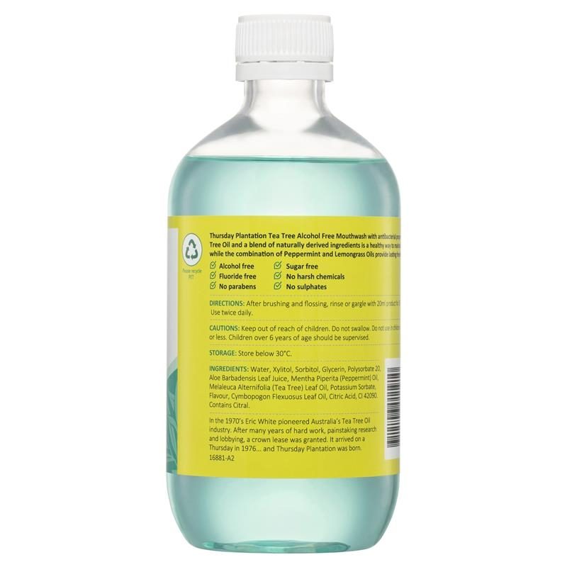 Thursday Plantation Tea Tree Alcohol Free Mouthwash Peppermint & Lemongrass 500ml