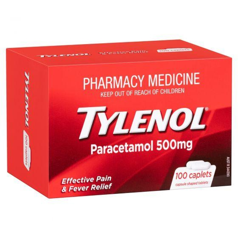 Tylenol Paracetamol 500mg 100 Caplets (Limited 5 Per Order)