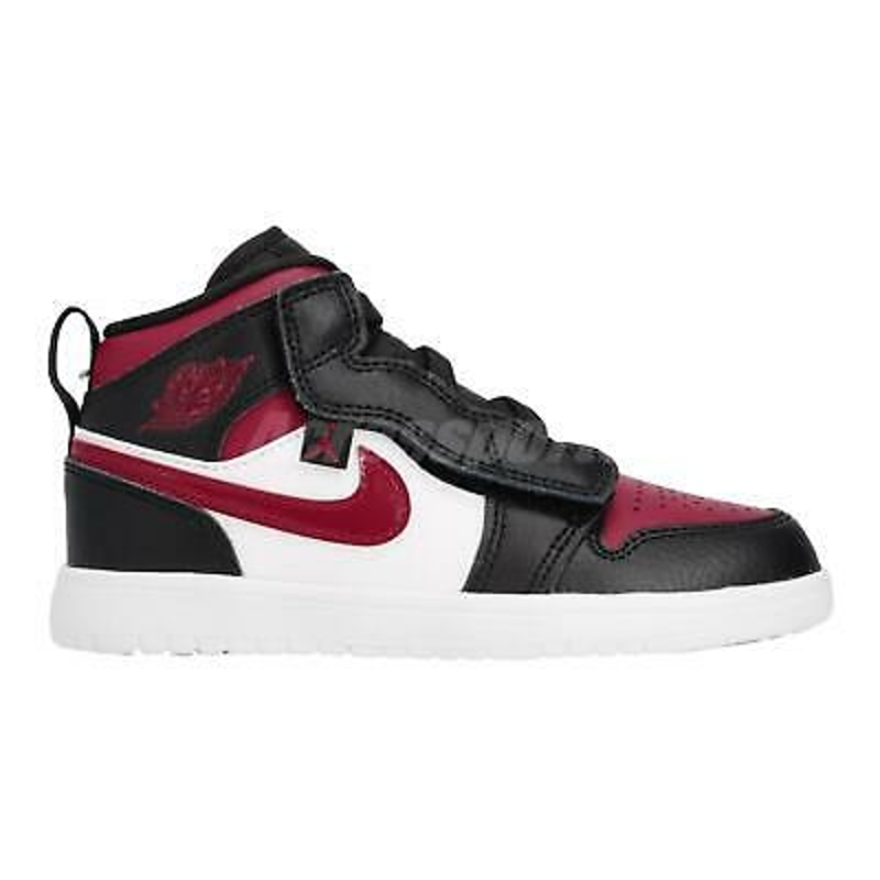 Nike Jordan 1 Mid ALT PS Black Noble Red White Kid Preschool Shoes AR6351-066