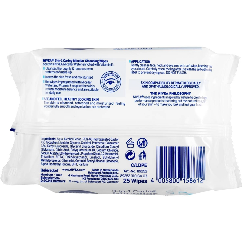 Khăn tẩy trang Nivea Micellar 3 In 1 Face Cleansing Wipes 25 pack