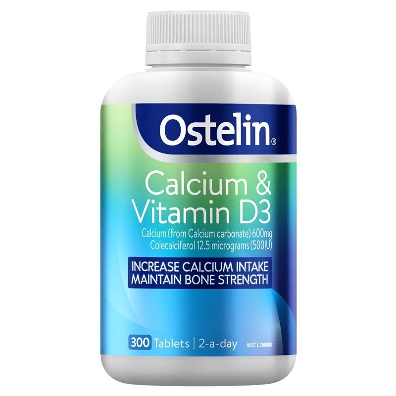 Viên uống bổ sung canxi và vitamin D 300v - Ostelin Calcium & Vitamin D3 - Calcium & Vitamin D - 300 Tablets Exclusive Size