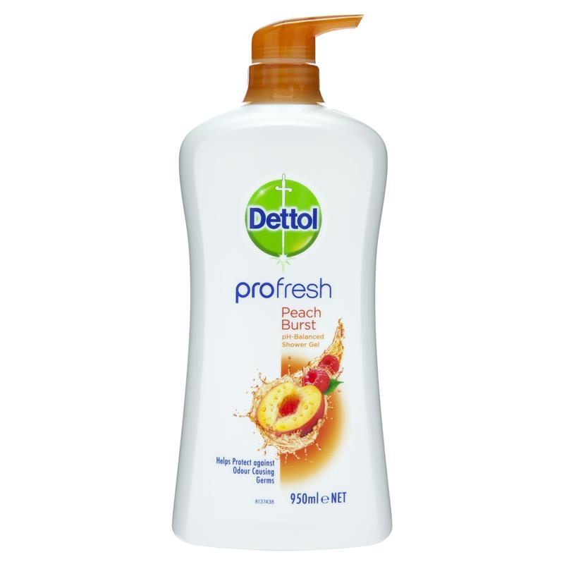 Sữa tắm Dettol Shower Cream Peach & Raspberry 950mL Profresh Body Wash