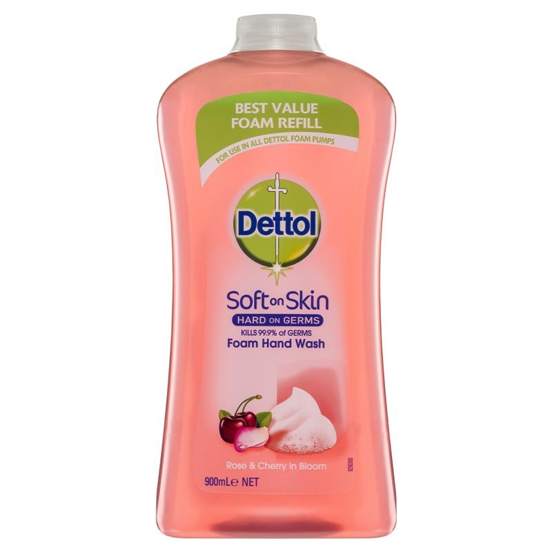 Nước rửa tay Dettol Hand Foam Rose Cherry Refill 900mL Antibacterial Wash