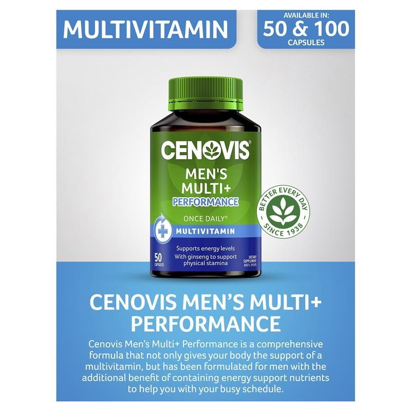 Cenovis Men's Multi + Performance - Once-Daily Multivitamin - 50 Capsules