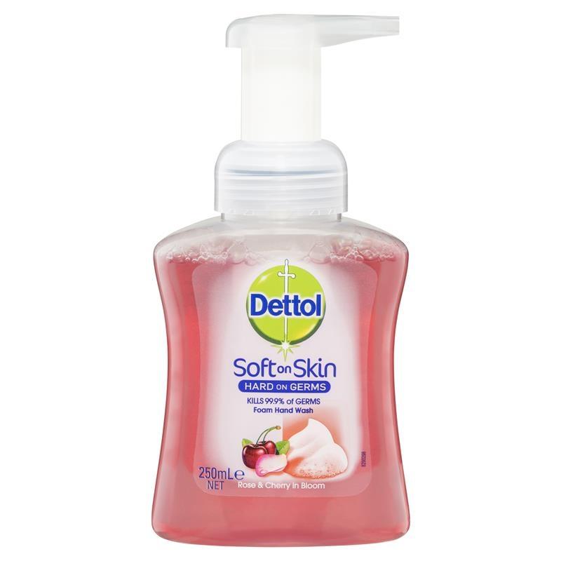 Nước rửa tay Dettol Hand Foam Rose & Cherry 250mL Antibacterial Wash