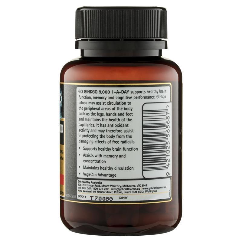 Viên uống bổ não GO Healthy Ginkgo 9000+ 60 Vege Capsules