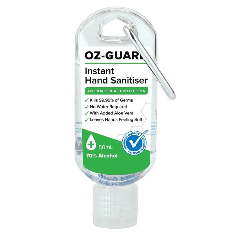 Oz Guard Instant Hand Sanitiser 50ml Tube with Carabiner Clip