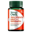 Nature's Own Triple Strength Garlic + C, Horseradish - Contains Vitamin C - 60 Tablets