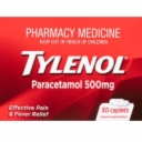 Tylenol Paracetamol 500mg 50 Caplets (Limited 1 Per Order)