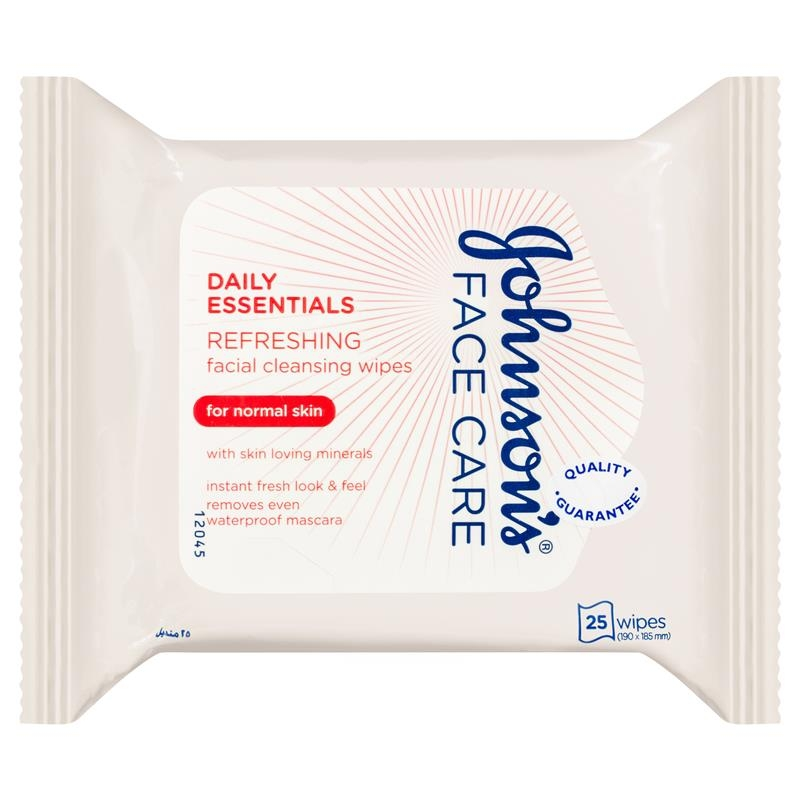 Johnson & Johnson Daily Essentials Refreshing Facial Cleansing Wipes for Normal Skin 25 Pack