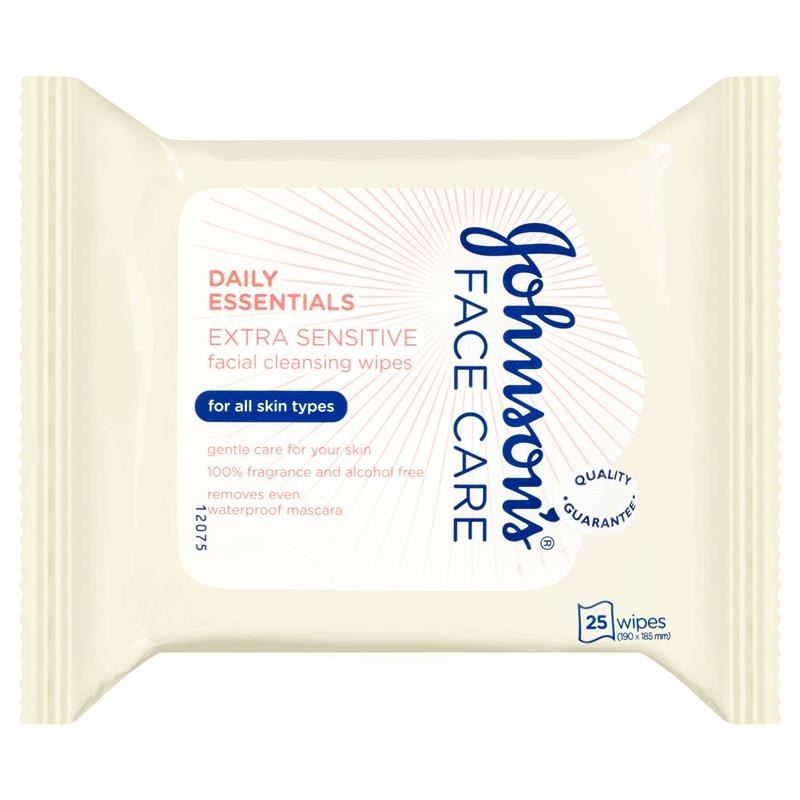 Khăn ướt Johnson's Face Care Daily Essentials Facial Cleansing Wipes Extra Sensitive 25 Pack