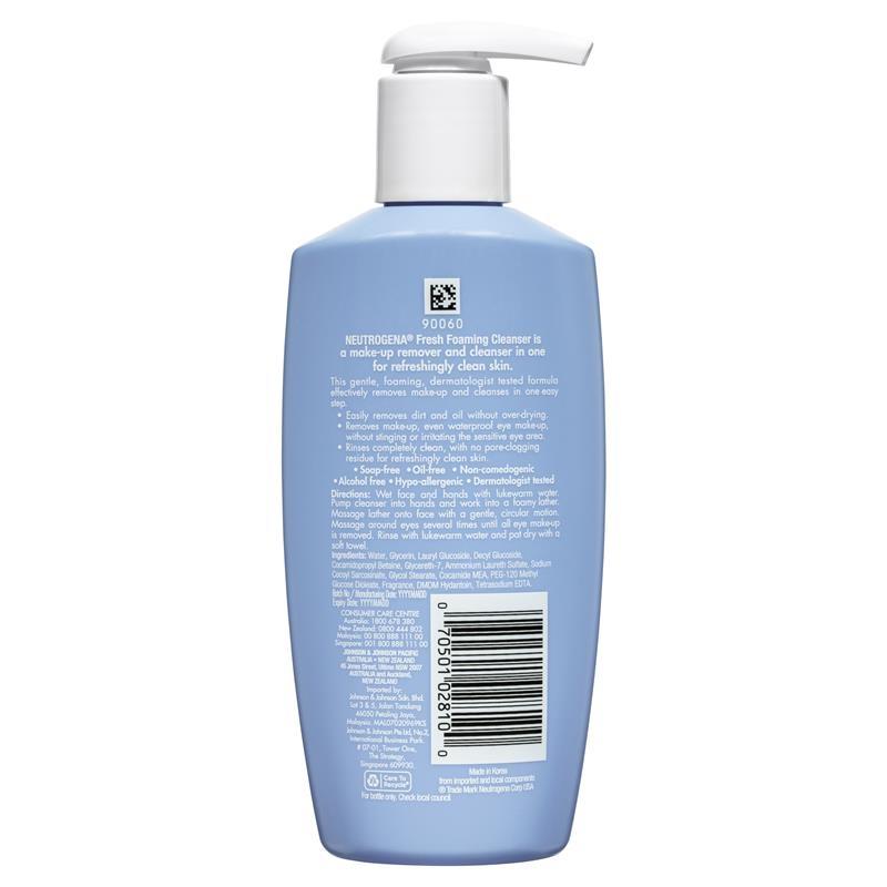 Sữa rửa mặt Neutrogena Fresh Foaming Cleanser 200ml (tẩy trang + rửa mặt 2 trong 1)