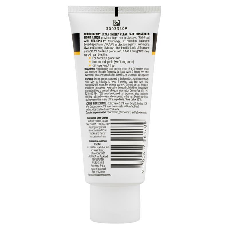 Neutrogena Ultra Sheer Clear Face Sunscreen Liquid-Lotion SPF 30 88mL