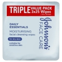 Johnson's Daily Essentials Facial Cleansing Wipes Dry Skin 3 x 25 Value Pack