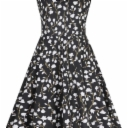 LONGYING Women's Casual Floral Printed Square Neck A Line Dress Cap Sleeve Flared Swing Midi Dress