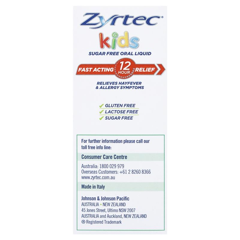 Zyrtec Hayfever Rapid Acting Kids Banana Flavour Oral Liquid 75mL