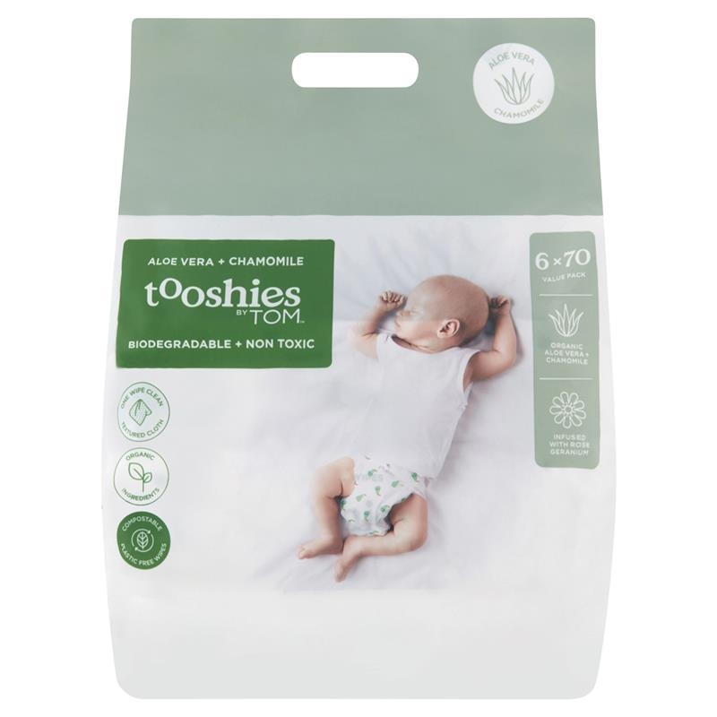Khăn ướt - Tooshies By TOM Baby Wipes Aloe Vera and Chamomile 6 x 70 Pack