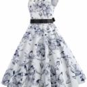 LONGYING Women's Sleeveless Round Neck Party Dresses Floral Printed Elegant Long Swing Midi Dresses with Belt