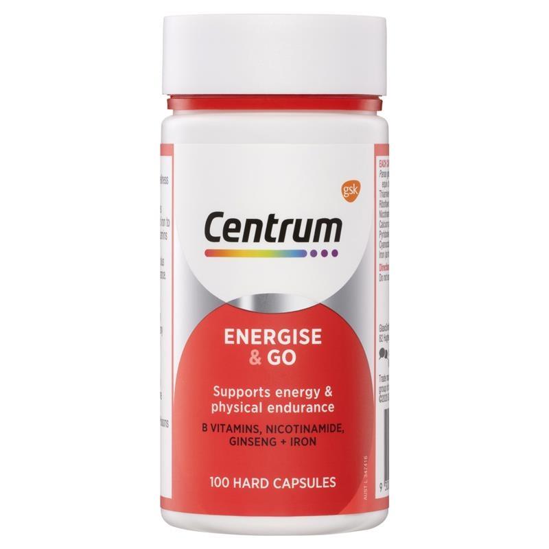 Vitamin tổng hợp Centrum Energise & Go 100 Capsules